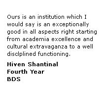 Dental College Testimonial